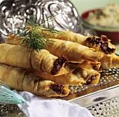 Sheep's cheese rolls (cigarette börek, Turkey)