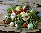 Vegetable bouquet with garlic, tomatoes, peppers, onions etc.
