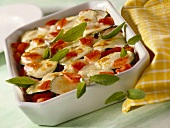 Soya and courgette bake with tomatoes and sage
