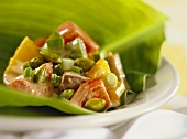 Thai curry with vegetables and toasted pistachios
