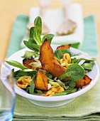 Corn salad with baked pumpkin