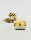 Ginger root and slices of preserved ginger