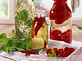 Herb oil, chili oil and raspberry vinegar