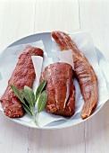 Lamb fillet, beef fillet and pork fillet