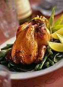 Gebratenes Hähnchen mit Honigglasur