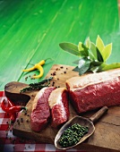 Ingredients for peppered steak