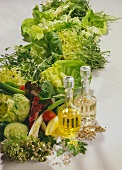 Still life with salad and salad ingredients