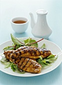 Barbecued carp fillets with honey and soy marinade