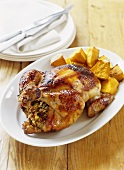 Roast chicken, Moroccan style (with couscous stuffing)