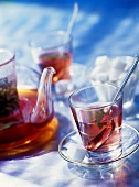 Herb tea in glasses and in teapot