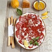 Carpaccio (marinated, raw beef sirloin), Piedmont, Italy