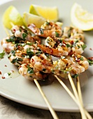 Shrimp kebabs with garlic and parsley