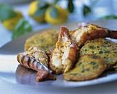 Shrimp cakes with king prawns
