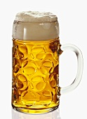 A litre of beer with head of foam