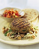 Lamb rissole on chick-pea salad