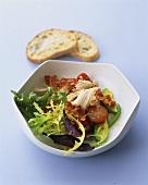 Salad with chicken breast, bacon & honey & mustard dressing