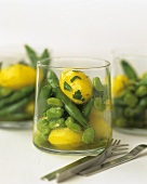 Saffron potatoes with beans in glass