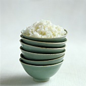 Bowl of rice on a pile of bowls