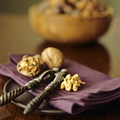 Walnuts with nut cracker