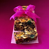 Fruit bread with purple bow