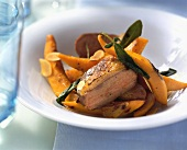 Roast duck breast with pumpkin and sage