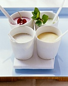 Fruit yogurts with banana, Sharon fruit, cherry & kiwi fruit