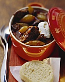 Pork goulash with silverskin onions and sour cream
