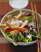 King prawn with cucumber and cress salad
