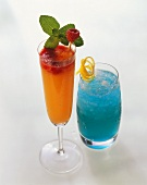 Two cocktails: Rosebud and Blue Crystal