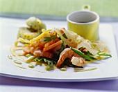 Shrimp salad with papaya in egg net