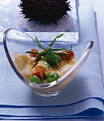 Sea urchin gratin with scallops and beans
