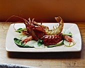 Fried Marron crayfish with kohlrabi