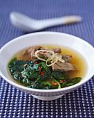 Vietnamesische Rindfleisch-Spinat-Suppe