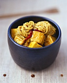 Curry mee (Egg noodles in curry sauce with tofu, Malaysia)