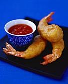 Shrimp tempura with spicy sauce