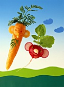 Carrot and radish figures