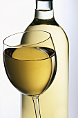 Glass of white wine in front of bottle