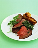 Roast beef with salsa verde and potatoes