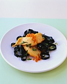 Pasta del dogge (Cuttlefish pasta with salmon & caviar)