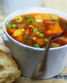 Vegetable soup with piri-piri (hot chili from Portugal)