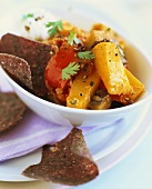 Vegetable stew with blue corn chips