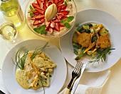 Frühlingsmenü mit Fisch, Lammkotelett und Erdbeerdessert