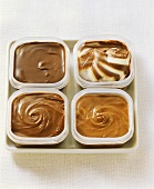 Chocolate ice cream in food storage boxes