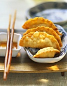 Fried won tons with a potato filling
