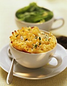 Macaroni cheese in a cup