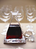 Port wine in a carafe with wine glasses