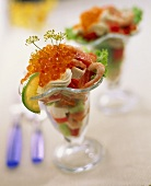 Seafood cocktail with salmon caviare