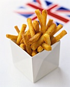 Deep-fried cheese sticks, Union Jack in background