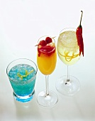 Three drinks: Blue Crystal, Rosebud and Spicy Cooler