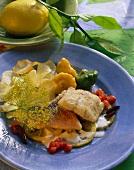 Redfish with lemon slices, mini patty pan squash & shrimp crisps